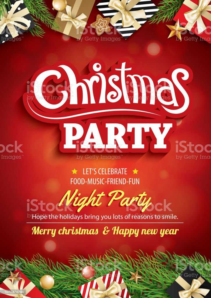 Merry Christmas Party And Greeting Card On Red Background Invitation Theme Concept Happy Holiday Design Template Stock Illustration Download Image