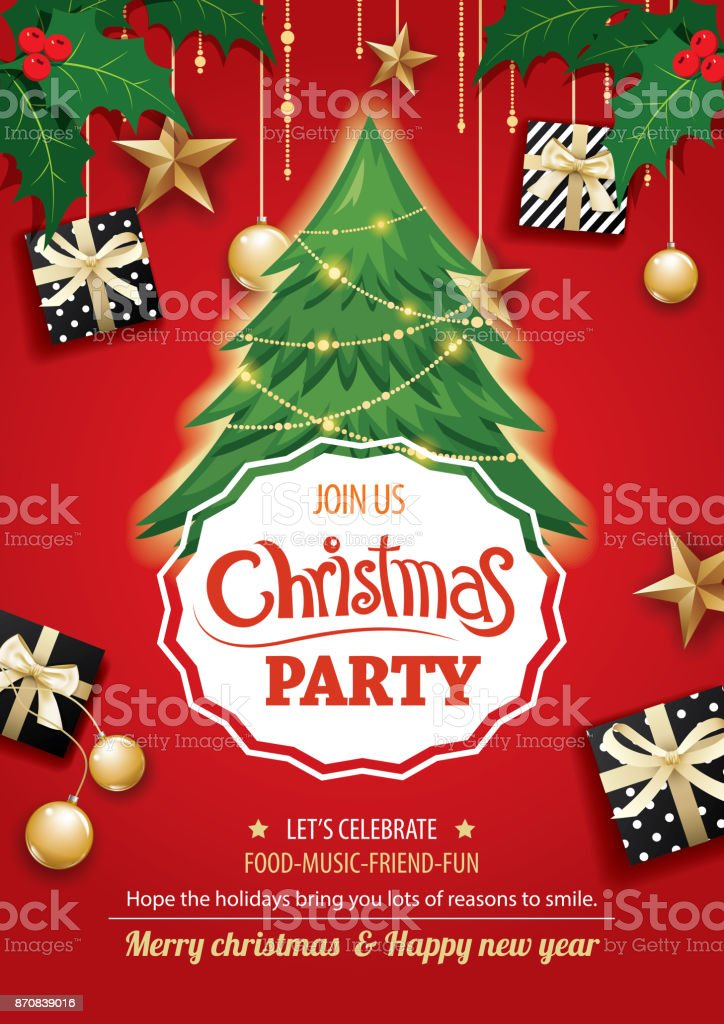 Merry christmas party and tree on red background invitation theme concept. Happy holiday greeting banner and card design template. vector art illustration