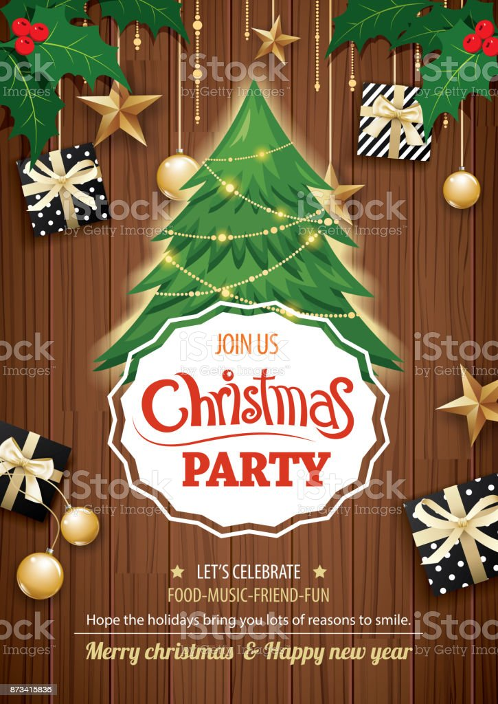 Merry Christmas Party And Tree On Wooden Background