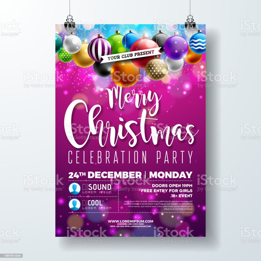 Christmas Party Flyer.Merry Christmas Party Flyer Design With Holiday Typography Lettering And Multicolor Ornamental Balls On Shiny Background Vector Celebration Poster