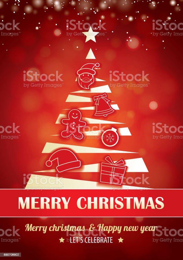 Frohe Weihnachtsfeier Für Flyer Broschüre Design Auf Rotem ...