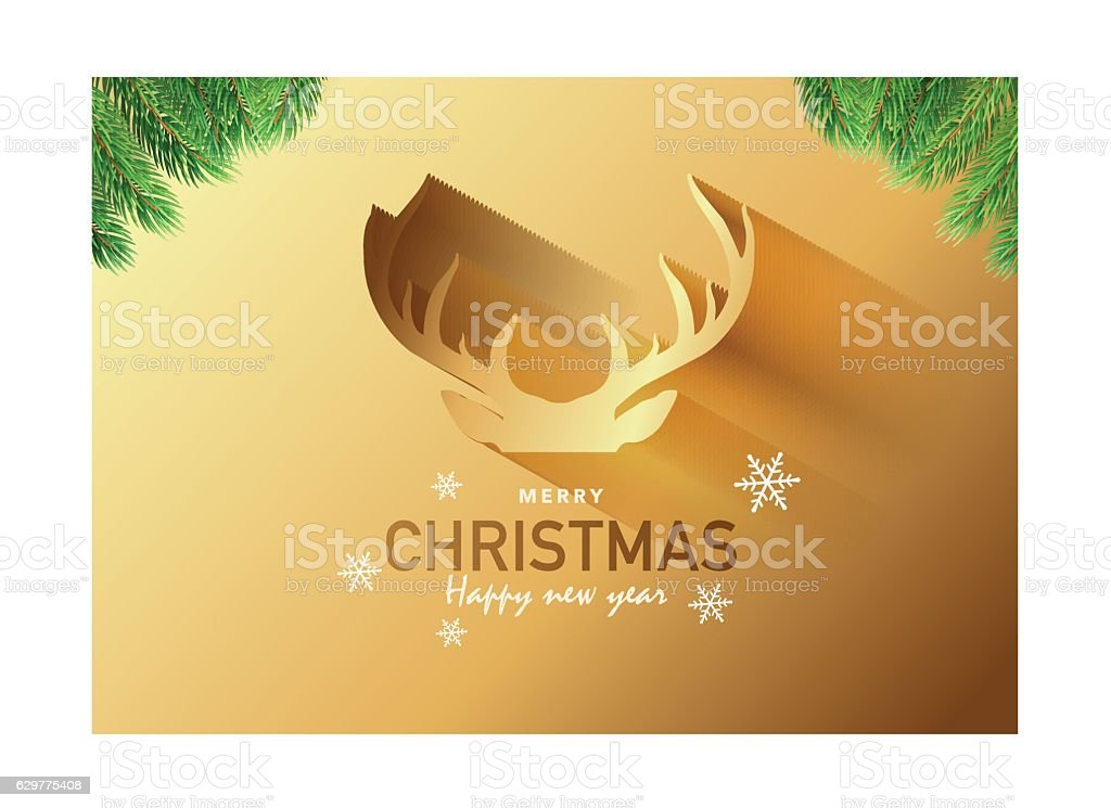 Merry Christmas Party Invitation Card Background Vector Illustration