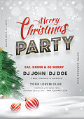 istock Merry Christmas Party invitation card design with Xmas tree, baubles and event details on snowy background. 1179740750