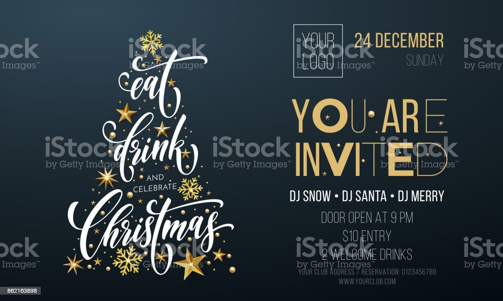 Merry Christmas party poster greeting vector golden decoration snowflake New Year background vector art illustration