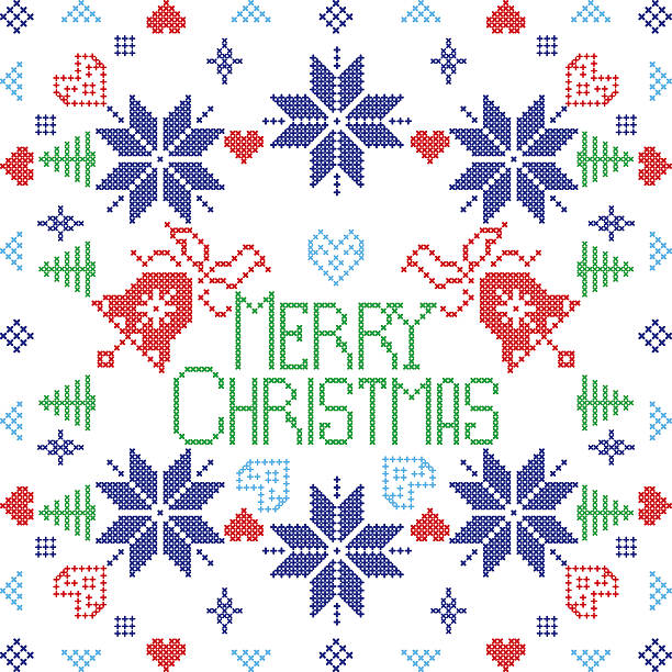 Merry Christmas pattern including bells, hearts, trees, snowflakes Merry Xmas Scandinavian style Nordic winter stitch, knitting pattern in the square shape including snowflakes, bell, trees, hearts, cross, decorative elements in in blue, red tile inspired by Christmas textile print boxing bell stock illustrations