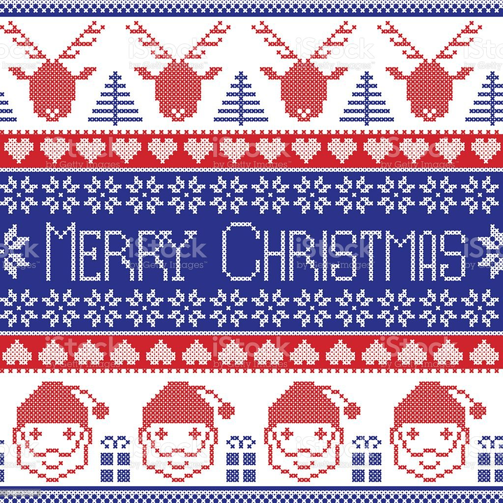 Merry Christmas pattern: Santa Claus, Xmas presents, reindeer, ornaments,  snowflakes ilustração de merry christmas pattern santa claus xmas presents reindeer ornaments snowflakes e mais banco de imagens de animal royalty-free