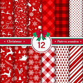 Merry Christmas pattern seamless collection. Set of 12 red and white X-mas winter holiday background. Endless texture for gift wrap, wallpaper, web banner background, wrapping paper and fabric patterns.