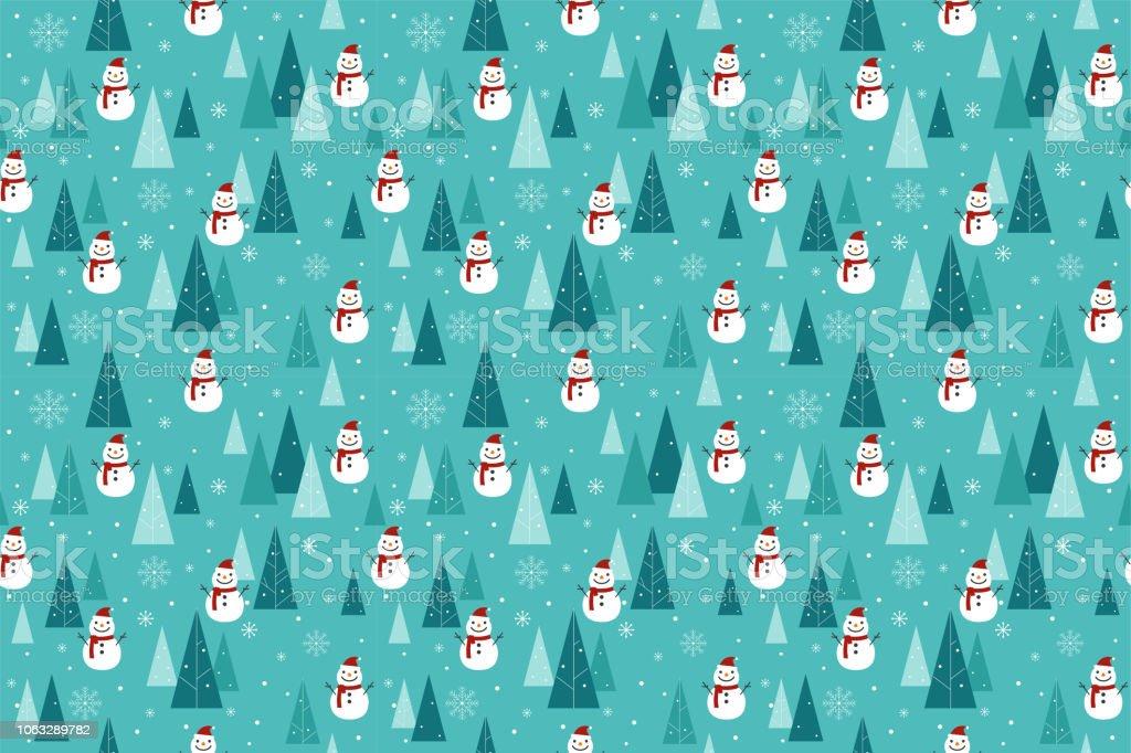 Frohe Weihnachtenmuster Nahtlos Schneemann Und Tree Wallpaper Blaue ...
