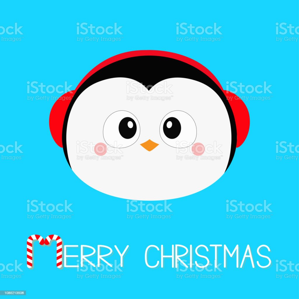 2cb781d063d47 Merry Christmas. Penguin round head face icon. Red headphones hat. Happy  New Year. Cute cartoon kawaii baby character. Arctic animal. Flat design.