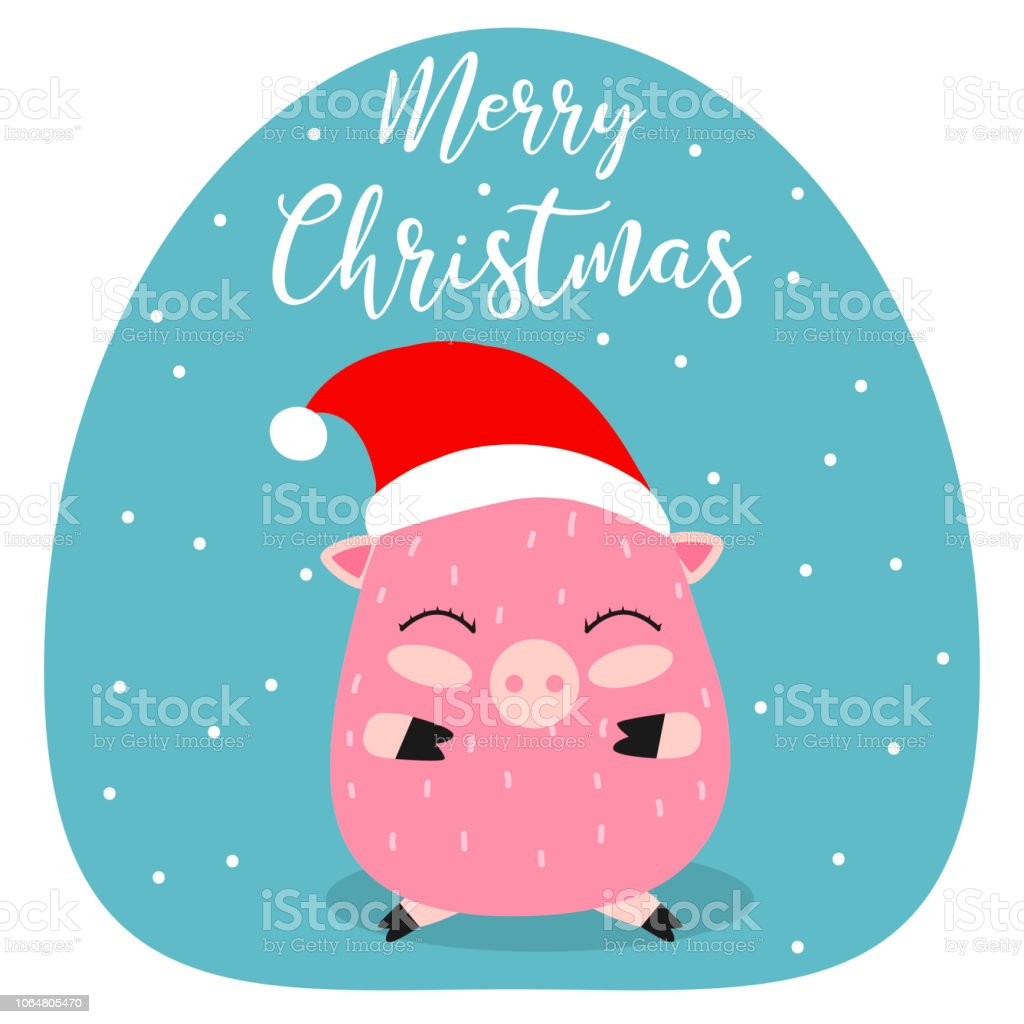 Merry Christmas Pig 2019 New Year Funny Pretty Hand Drawing Cartoon ...