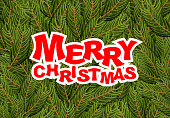 Merry Christmas. pine branches. Holiday greeting card. Fresh gre