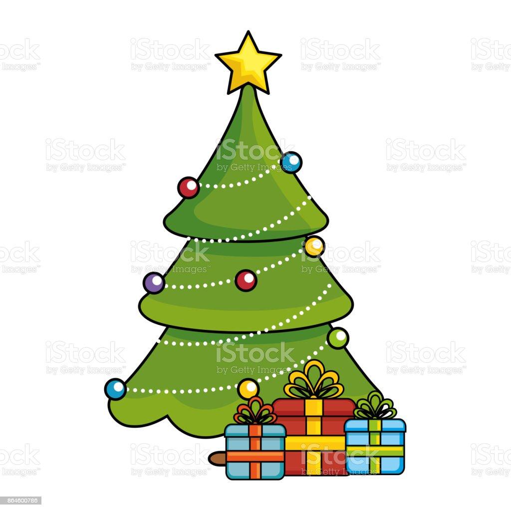 Tannenbaum Bilder.Frohe Weihnachten Tannenbaum Mit Geschenken Stock Vektor Art Und