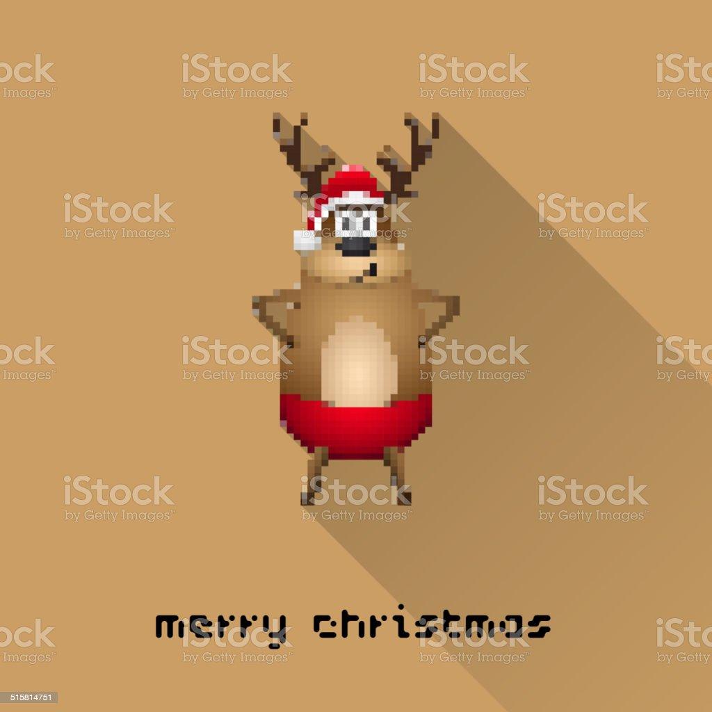 Joyeux Noël En Pixel Art Style Santa Renne Affiche Vecteurs