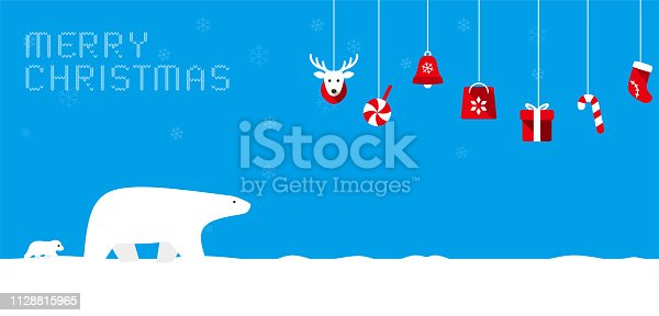 istock Merry Christmas, polar bear walking with it's baby 1128815965
