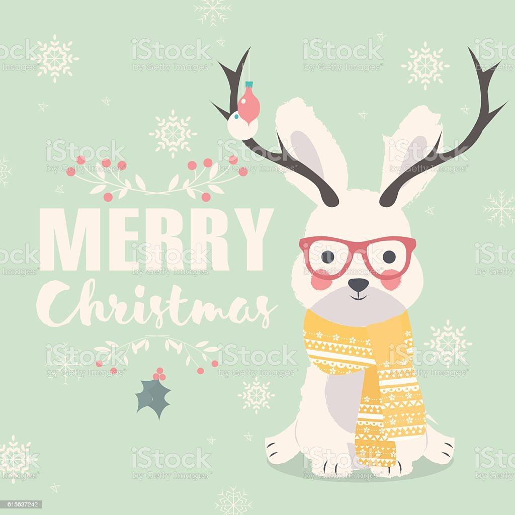 Merry Christmas Postcard Hipster Polar Rabbit Wearing Glasses And Antlers Royalty Free