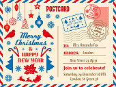 Merry Christmas vector greeting postcard and winter holiday congratulation. Postal card with stamps and address, Xmas tree and holly berry. Bullfinch and Santa on sleigh with deers