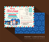 Merry Christmas postcard invitation card design Vector Template
