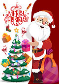 Santa Claus and paper with Merry Christmas wishes, vector Xmas tree. Winter holiday, fairy character and greetings. Fir in garland and gift box, sock and firework rocket, present sack and elderly man