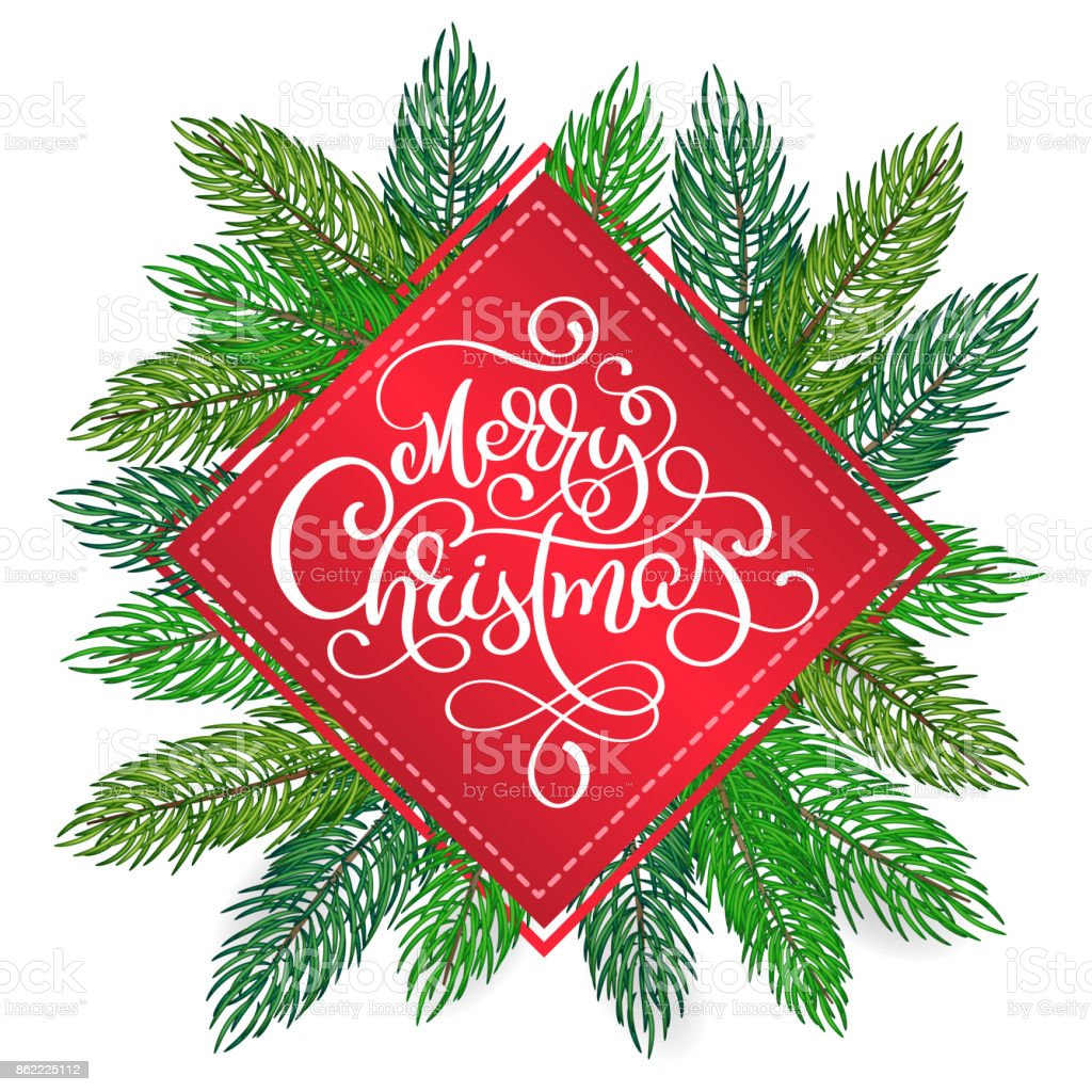 Merry Christmas Postcard with Hand Lettering, Handmade Calligraphy Inscription, vector illustration vector art illustration