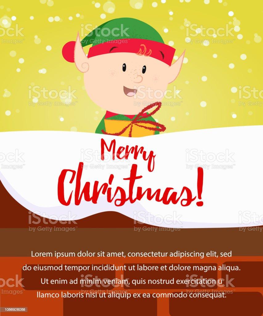dfb4fbf82fbf5 Diseño de cartel de feliz Navidad. Regalo de celebración cute elf  ilustración de diseño de