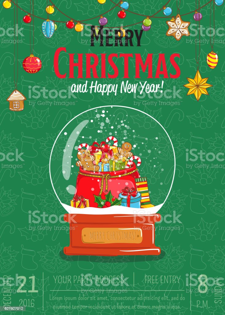 merry christmas poster for holiday party promo stock illustration - download image now