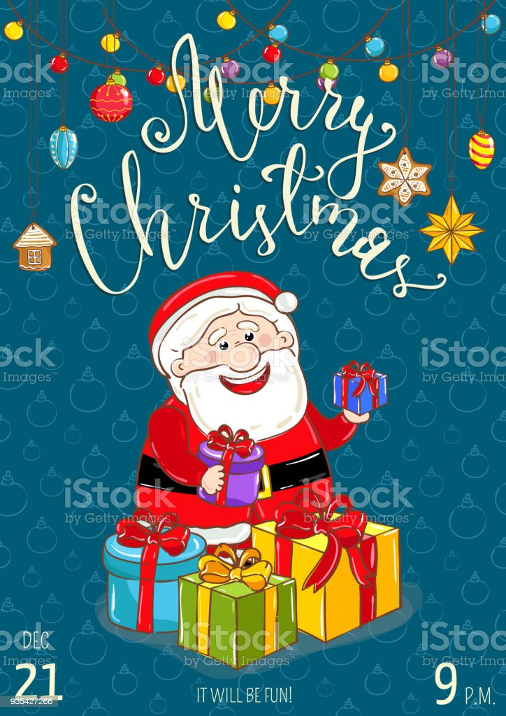 merry christmas poster for holiday party promo stock vector art