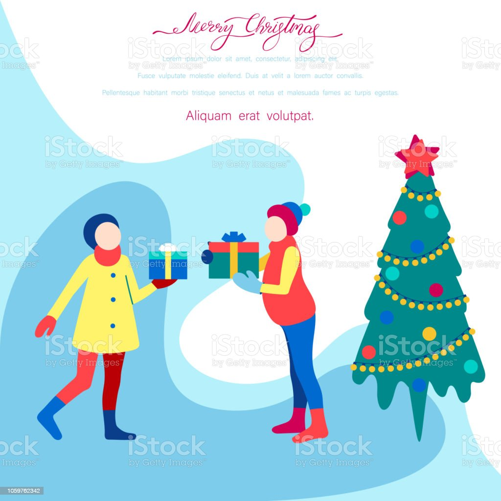 394cbf201f03d Cartel feliz Navidad con árbol de Navidad y amigos con regalos. ilustración  de cartel feliz