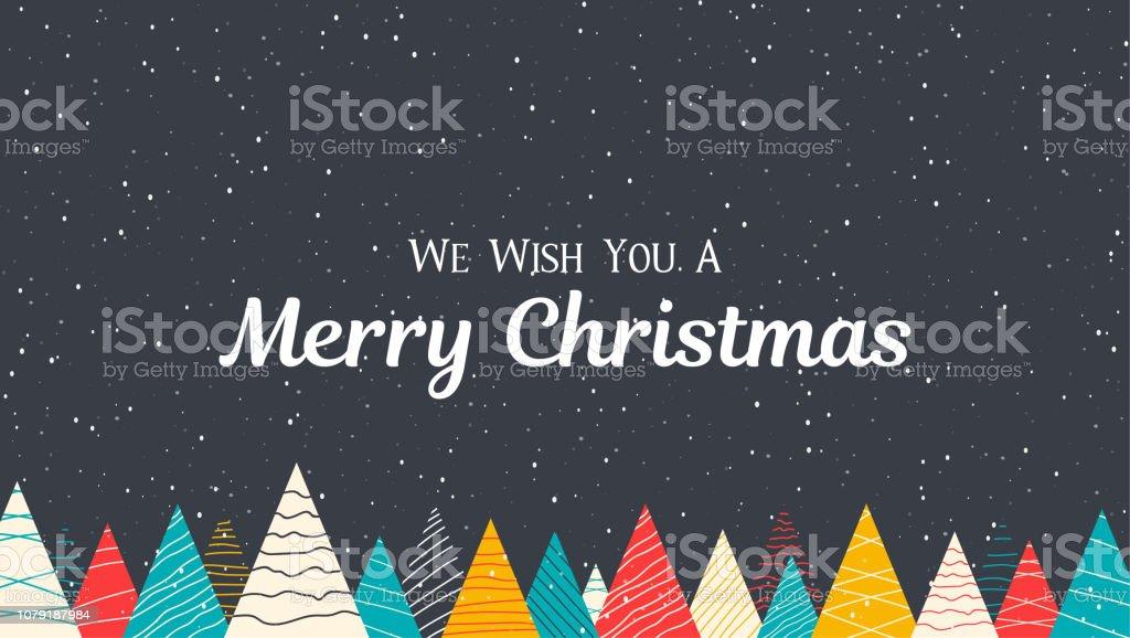 Cartel feliz Navidad con nieve y abetos de colores creativos. - arte vectorial de Abeto libre de derechos