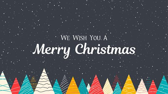 Ilustración de Cartel Feliz Navidad Con Nieve Y Abetos De Colores Creativos y más Vectores Libres de Derechos de Abeto