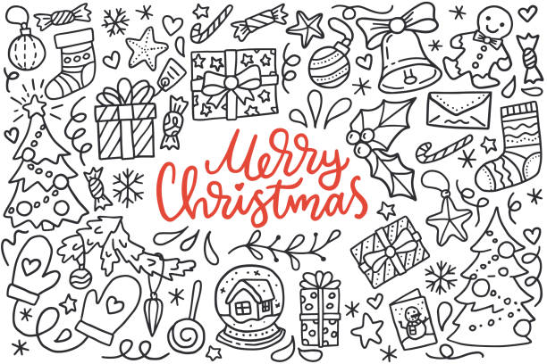 ilustrações de stock, clip art, desenhos animados e ícones de merry christmas poster with greetings lettering and doodle illustration of new year tree, snowflakes, presents, stockings, decoration balls, gingerbread. hand drawn black line art, cartoon style - christmas elements