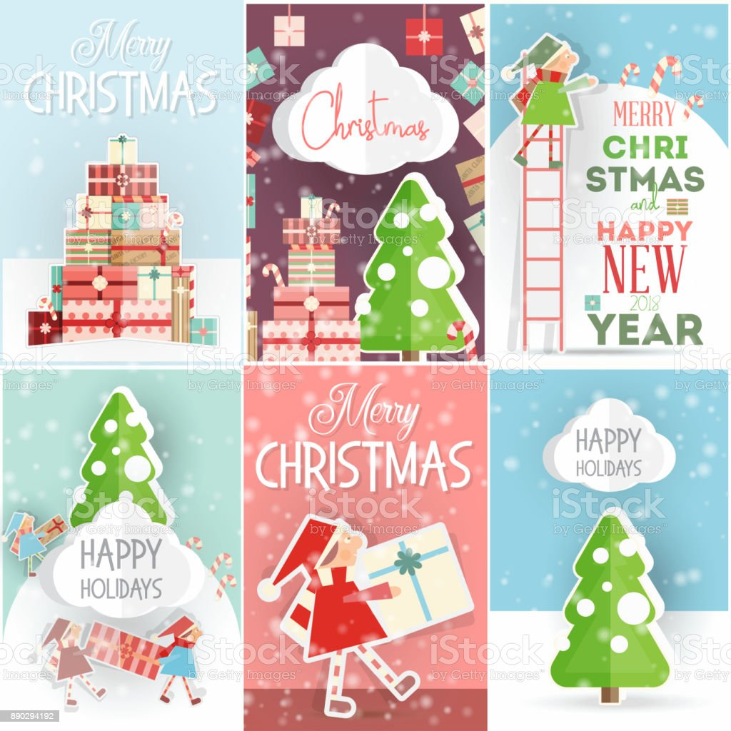 Christmas Posters.Merry Christmas Posters Set Stock Illustration Download