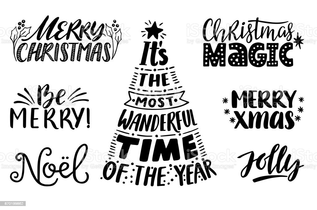 Merry Christmas Quotes Set Vector Text For Design Greeting Cards ...