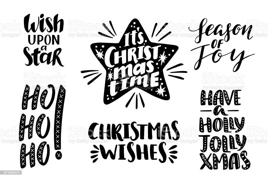 Ilustración de Frases De Navidad Feliz Conjunto Vector Texto Para ...
