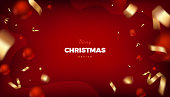 Merry Christmas red background, abstract festive banner with red balls and golden cerpentine 3d vector design