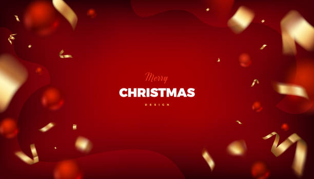 Merry Christmas red background with golden decoration Merry Christmas red background, abstract festive banner with red balls and golden cerpentine 3d vector design christmas backgrounds stock illustrations