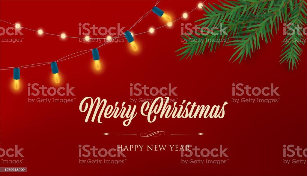 Led Frohe Weihnachten.Frohe Weihnachten Rote Banner Mit Bunten Led Dekoration Lampe Frohes Neues Jahr Hintergrund Stock Vektor Art Und Mehr Bilder Von Abstrakt