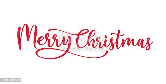 istock merry christmas red hand lettering inscription to winter holiday design, calligraphy vector illustration 1180139808