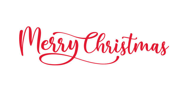 merry christmas red hand lettering inscription to winter holiday design, calligraphy vector illustration - christmas background stock illustrations