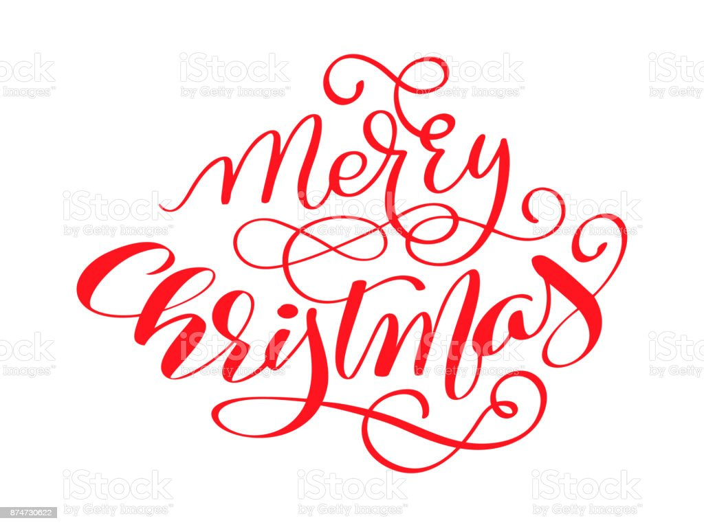 Merry Christmas Red Vector Calligraphic Lettering Text For Design ...
