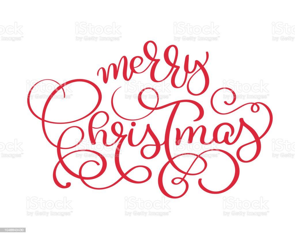 Frohe Weihnachten Rot Vintage Vektortext Kalligraphische Schrift ...
