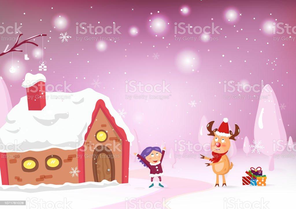 Animation Frohe Weihnachten.Frohe Weihnachten Rentier Cartoon Charakter Geben Ein Geschenk Zu