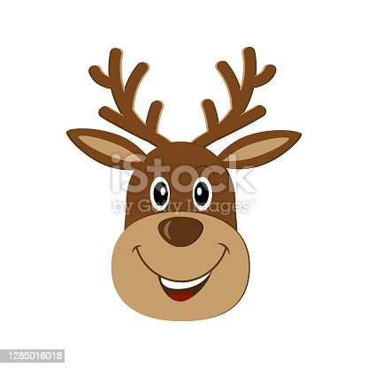 istock Merry Christmas reindeer, color isolated vector illustration, clipart, design, decoration, print 1285016018