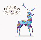 Merry christmas reindeer shape in triangle origami hipster style with text label. Ideal for xmas greeting card or holiday party invitation. EPS10 vector.