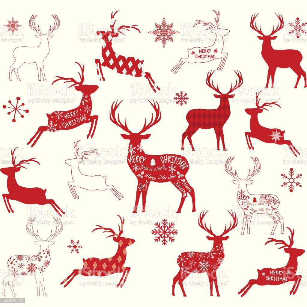 Merry Christmas Reindeerreindeer Silhouette Collections ...