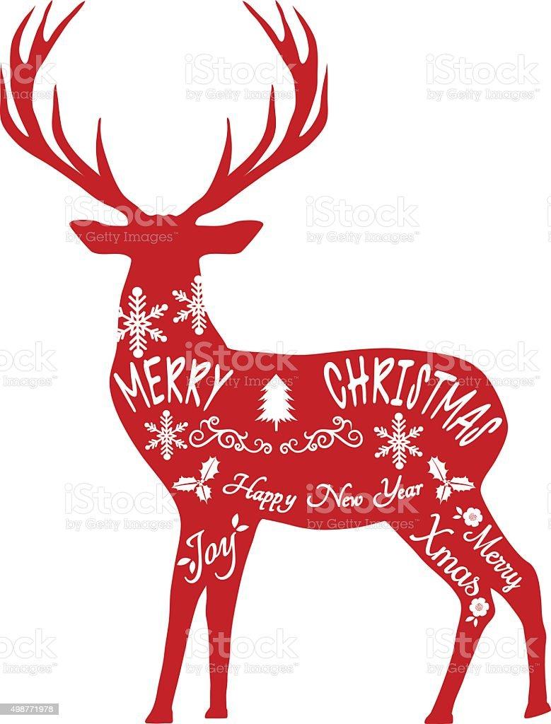 Merry Christmas Reindeerreindeer Silhouettered Reindeer ...