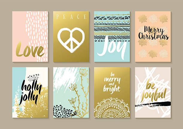 merry christmas retro hipster boho hippie card set - bohemian fashion stock illustrations, clip art, cartoons, & icons