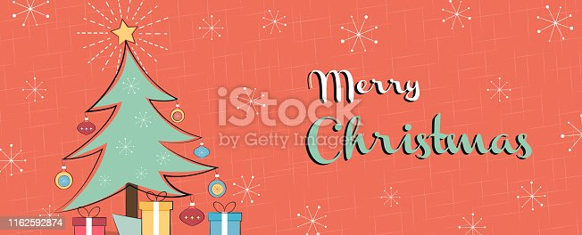 Merry Christmas web banner illustration of retro style pine tree, gifts and vintage mid century decoration.