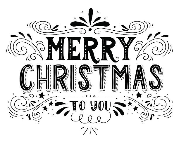 Merry Christmas retro poster with hand lettering and decoration vector art illustration