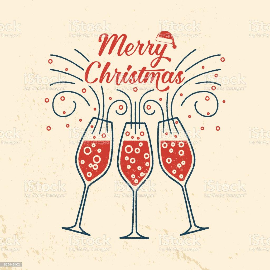 シャンパン グラスを持つメリー クリスマス レトロなテンプレート - お祝いのロイヤリティフリーベクトルアート