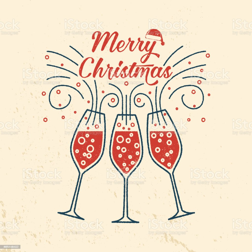 Merry Christmas retro template with Champagne glasses - illustrazione arte vettoriale
